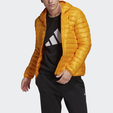 Men City Outdoor Orange Varilite Hooded Down Jacket