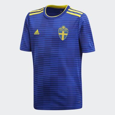 синий Гостевая игровая футболка сборной Швеции
