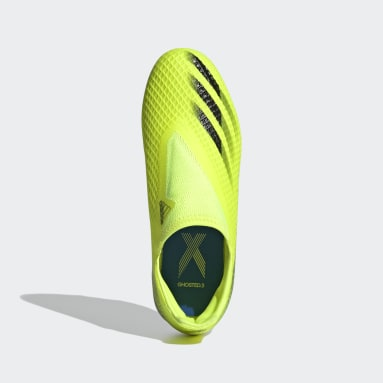 Kids Football Yellow X Ghosted.3 Laceless Firm Ground Boots