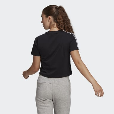 Women Sport Inspired Black Essentials Loose 3-Stripes Cropped Tee