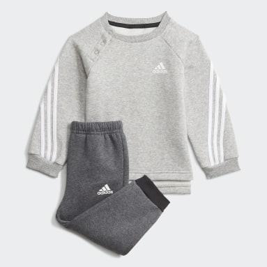Kinder Fitness & Training Future Icons 3-Streifen Jogginganzug Grau