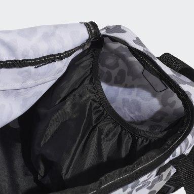 Women Gym & Training Grey Linear Leopard Duffel Bag Small
