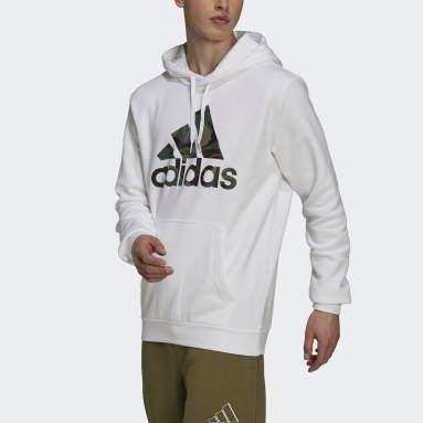 Mænd Sportswear Hvid Essentials Fleece Camo-Print hættetrøje