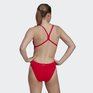 Women Swimming Red Sports Performance Solid Swimsuit