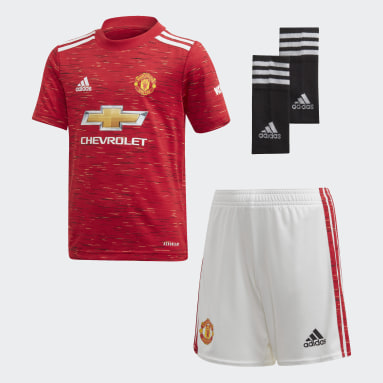 Kids Football Red Manchester United 20/21 Home Youth Kit