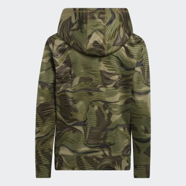 Youth Training Green Camo Allover Print Hoodie