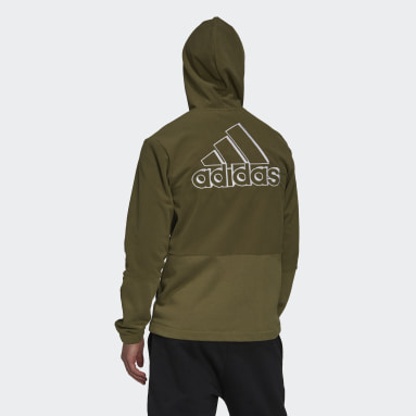 Men's Essentials Green Essentials Polar Fleece Giant Logo Full-Zip Hoodie