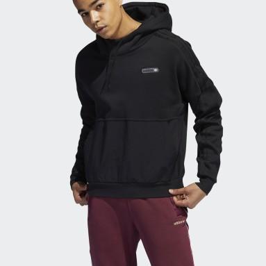 Sweat-shirt à capuche adidas SPRT Material Mix noir Hommes Originals