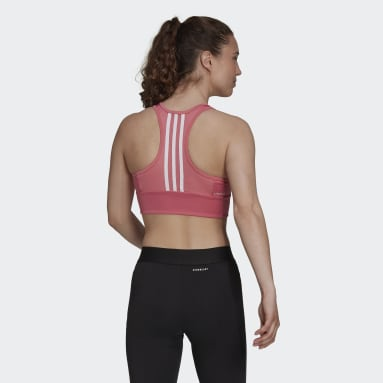 Top Cropped AEROREADY Designed to Move 3-Stripes Padded Sports Rosa Mulher Training