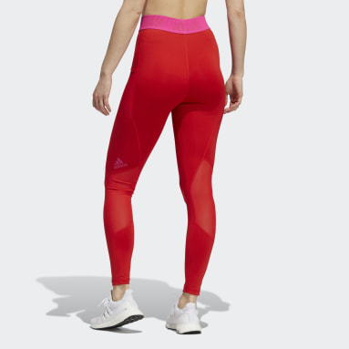 Women Gym & Training Red Techfit Badge of Sport Tights