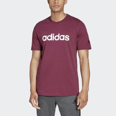 T-shirt Essentials Embroidered Linear Logo Bordeaux Uomo Sportswear