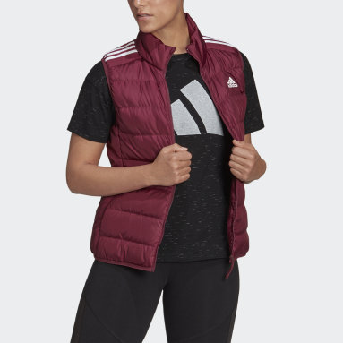 Women's Hiking Red Essentials Light Down Hooded Parka