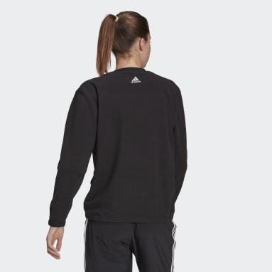 Dam Sportswear Svart Brand Love Giant Logo Polar Fleece Sweatshirt