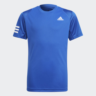 Youth Tennis Blue Club Tennis 3-Stripes Tee