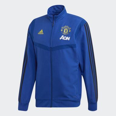 Chamarra de Presentación Manchester United Azul Hombre Fútbol