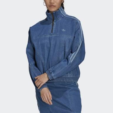 Women Originals Blue Adicolor Denim Cropped Track Top