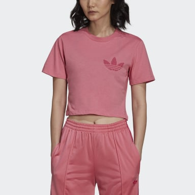 Women's Originals Pink Cropped Tee with Trefoil Graphic