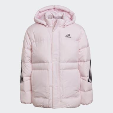 Kids Gym & Training Pink 3-Stripes Down Jacket