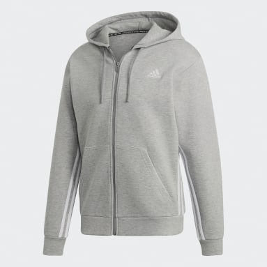 Veste à capuche Must Haves 3-Stripes gris Hommes Sportswear
