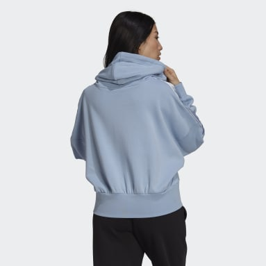 Sudadera con capucha Adicolor Classics Satin Tape Cropped Azul Mujer Originals