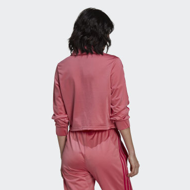 Women Originals Pink Cropped Wide Collar Track Top with Fashionable Side Zips