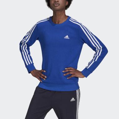 Women's Essentials Blue Essentials 3-Stripes Fleece Sweatshirt