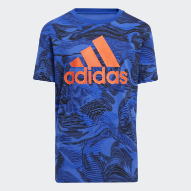Youth Training Blue Camo Allover Print Tee