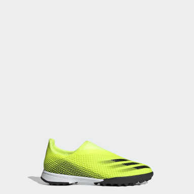 Kids Football Yellow X Ghosted.3 Laceless Turf Boots