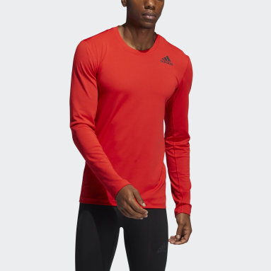 Men Running Red Techfit Compression Long Sleeve Tee