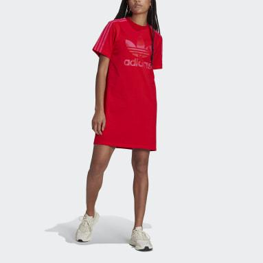 Marimekko Trefoil Print Infill Tee Dress Czerwony
