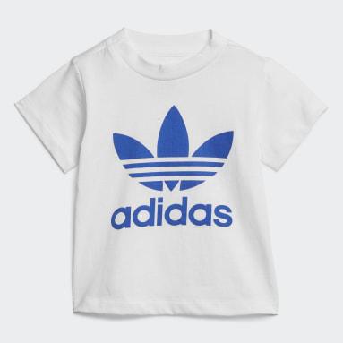 Infants Originals White Trefoil Shorts Tee Set