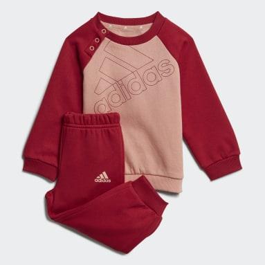 Completo felpa e pantaloni adidas Essentials Logo (Neutral) Rosa Bambini Sportswear