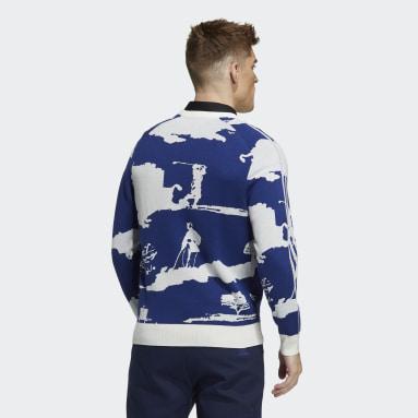 Men Golf Blue Long Sleeve Crewneck Graphic Sweater