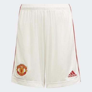 Short Domicile Manchester United 21/22 Blanc Enfants Football