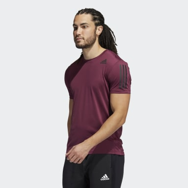 Men Training Red Techfit 3-Stripes Fitted Tee