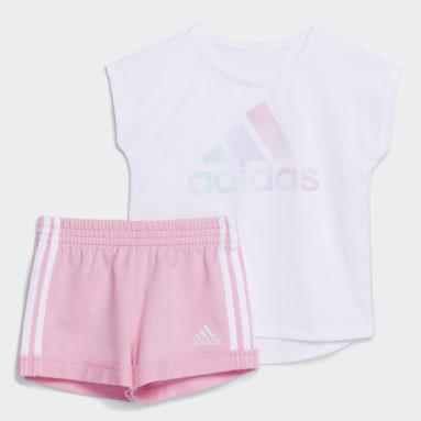 Infant & Toddler Training White Dance Tee and Shorts Set