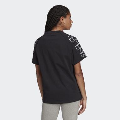 T-shirt Loose adidas Letter Noir Femmes Originals