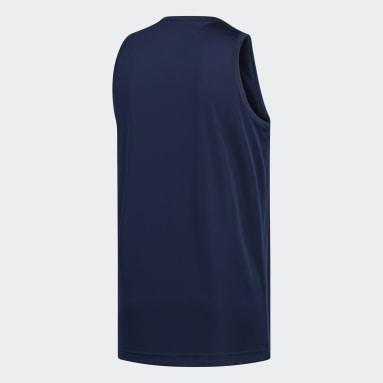 Men Basketball Blue Heathered Tank Top