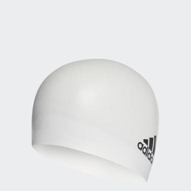 Swimming White Silicone Logo Cap
