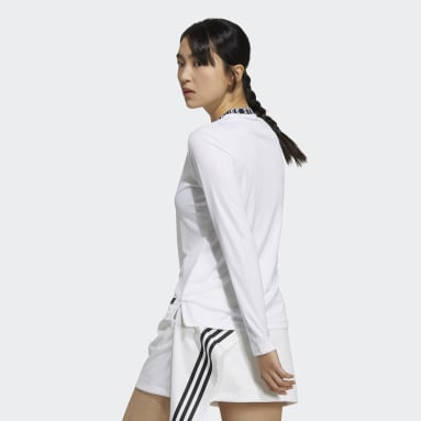 Women Golf White Statement Recycled Polyester Crewneck Long Sleeve Shirt