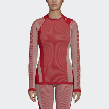Y-3 Classic Seamless Knit Long Sleeve Tee Rosso Donna Y-3