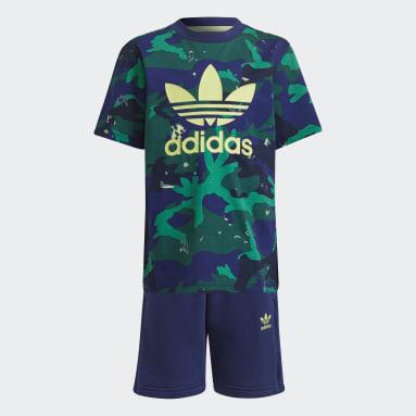Conjunto Shorts y Remera Camuflaje Estampado Azul Niño Originals