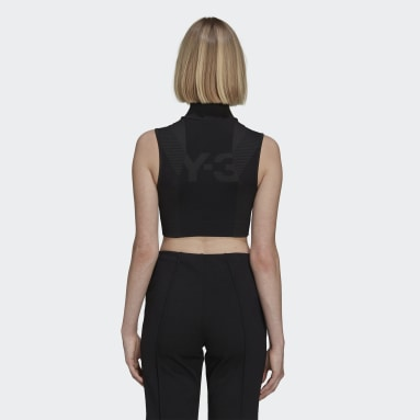Women Y-3 Black Y-3 Classic Seamless Knit Sport Top (Cropped)