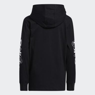 Youth Training Black Long Sleeve Hooded Linear Tee
