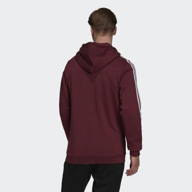 Men's Essentials Burgundy Essentials Fleece 3-Stripes Full-Zip Hoodie