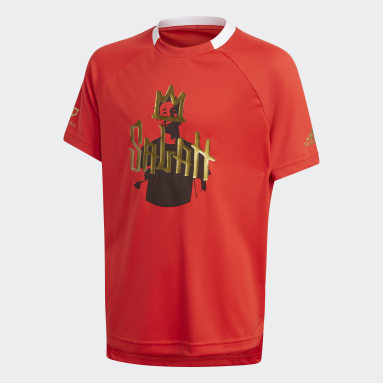 T-shirt Salah Football Inspired Rouge Garçons Fitness Et Training