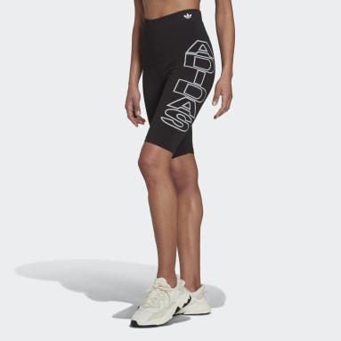 ผู้หญิง Originals สีดำ กางเกงรัดรูปขาสั้นเอวสูงปานกลาง Letter