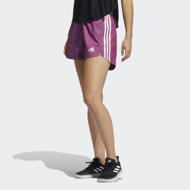 Women Training Purple Elevated Woven Primeblue Pacer Shorts