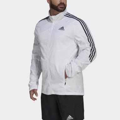 Muži Běh bílá Bunda Marathon 3-Stripes