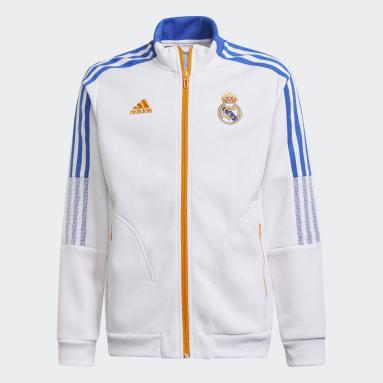 Jaqueta Hino Real Madrid Tiro Branco Meninos Futebol